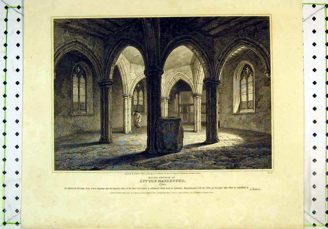 Print 1807 Interior View Round Church Little Maplested Essex 122B377 Old Original