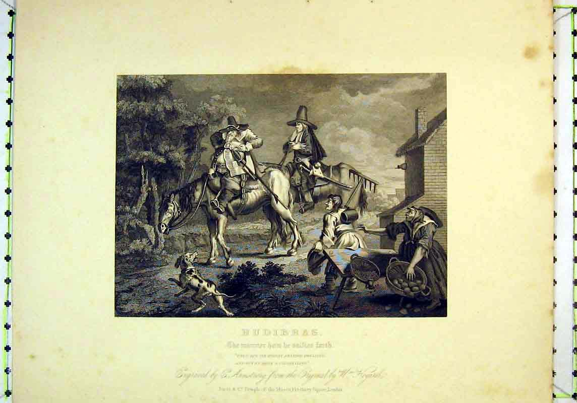 Print Hudibras Scene Men Horses Women Fruit 128B377 Old Original