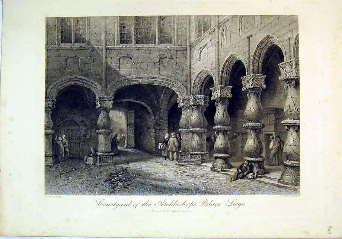 Print View Courtyard Archbishop'S Palace Liege Europe Cassell 142B377 Old Original