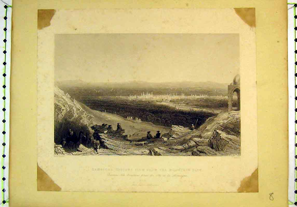 Print View City Damascus Mountains Camels Men Goat Appleton 143B377 Old Original
