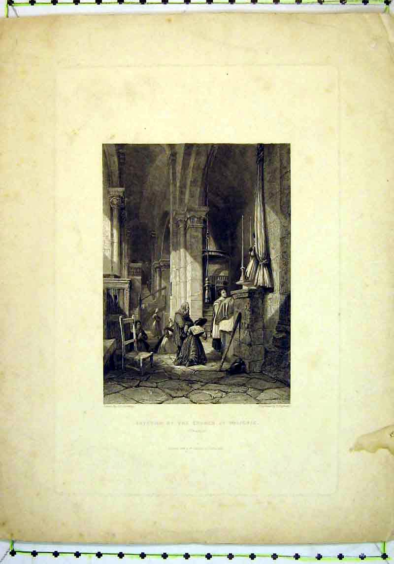 Print 1837 Interior View Church Polignac France Higham 150B377 Old Original