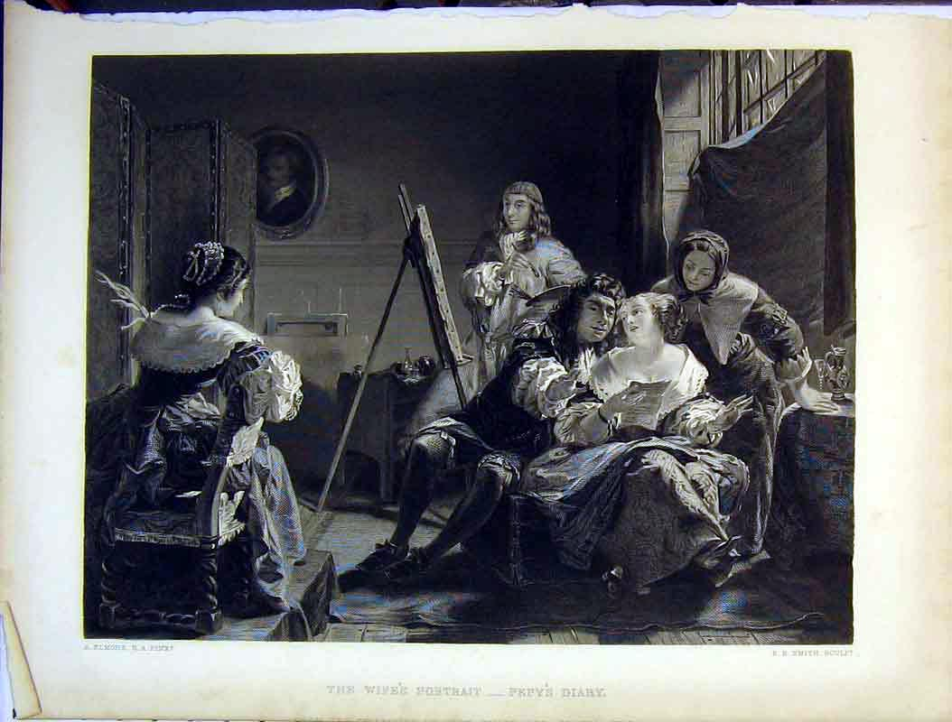 Print Scene Wife'S Portrait Pepy'S Diary Artist Painting 603B378 Old Original