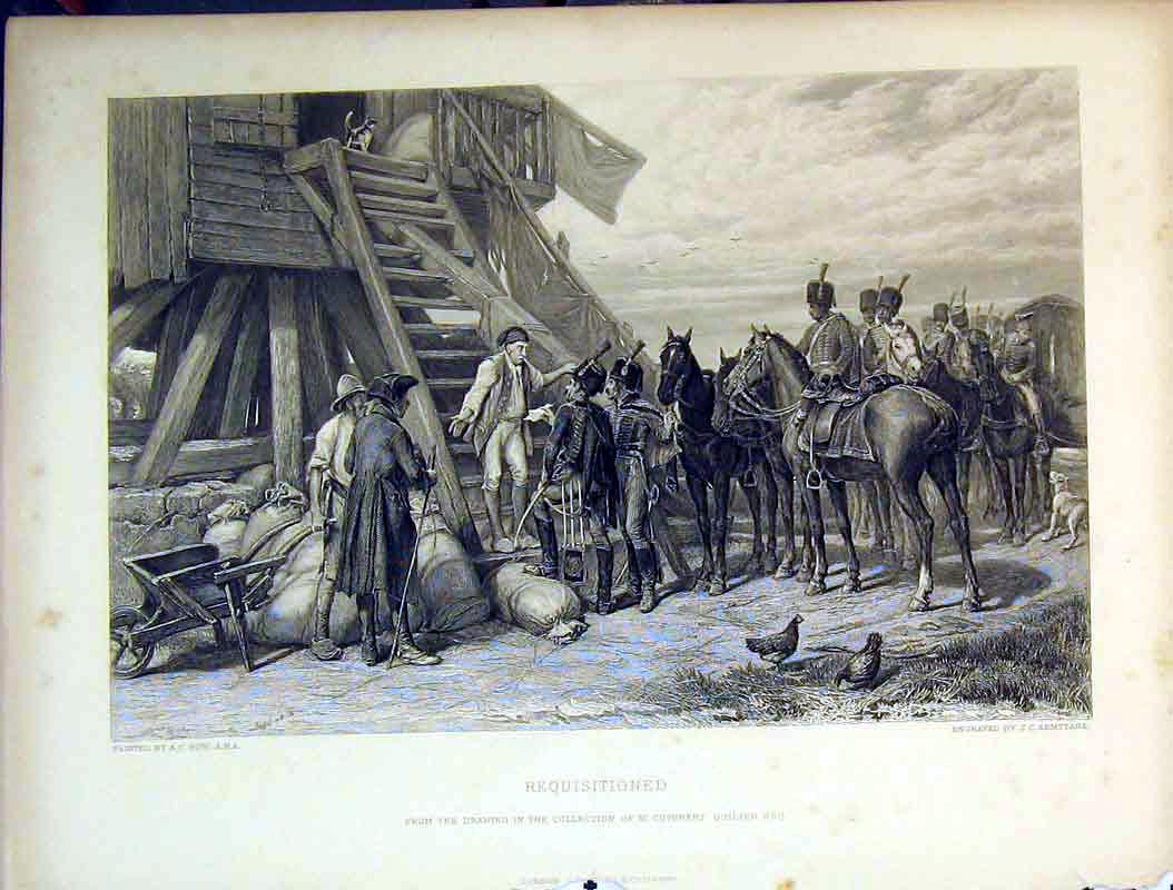 [Print War Army Scene Requisitioned House Men Dogs Steps 604B378 Old Original]