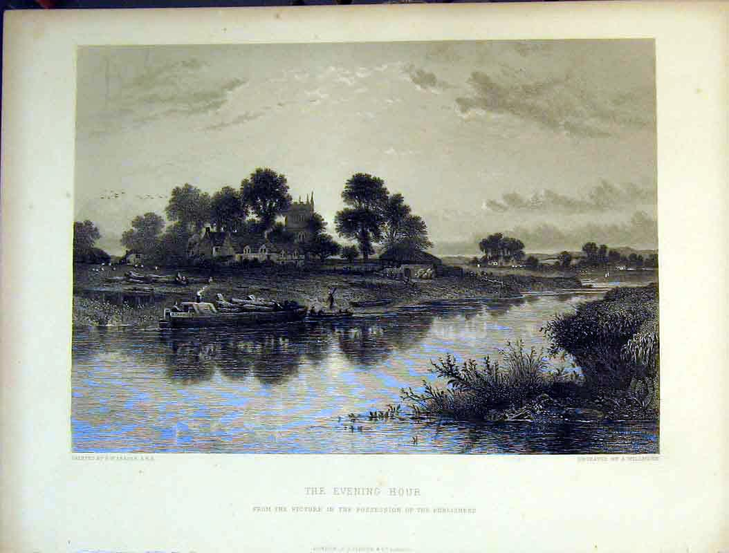 Print Country Houses Church River Boat Birds Trees Willmore 609B378 Old Original