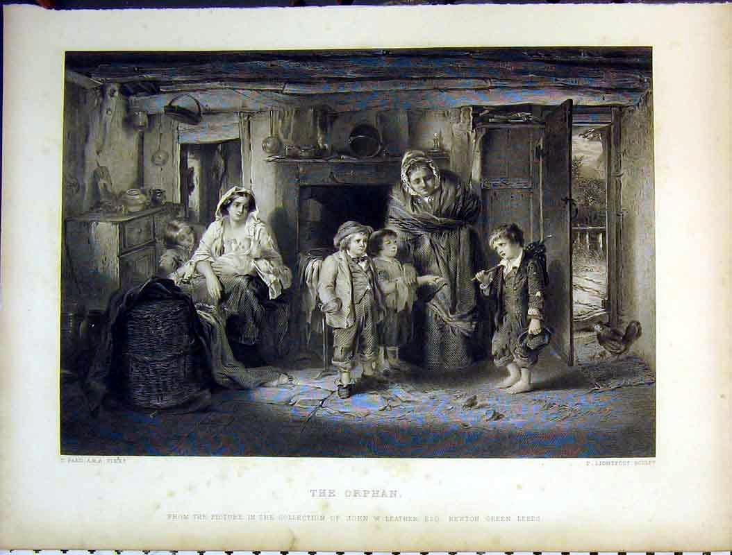 Print Interior House Orphan Women Children Lightfoot 610B378 Old Original