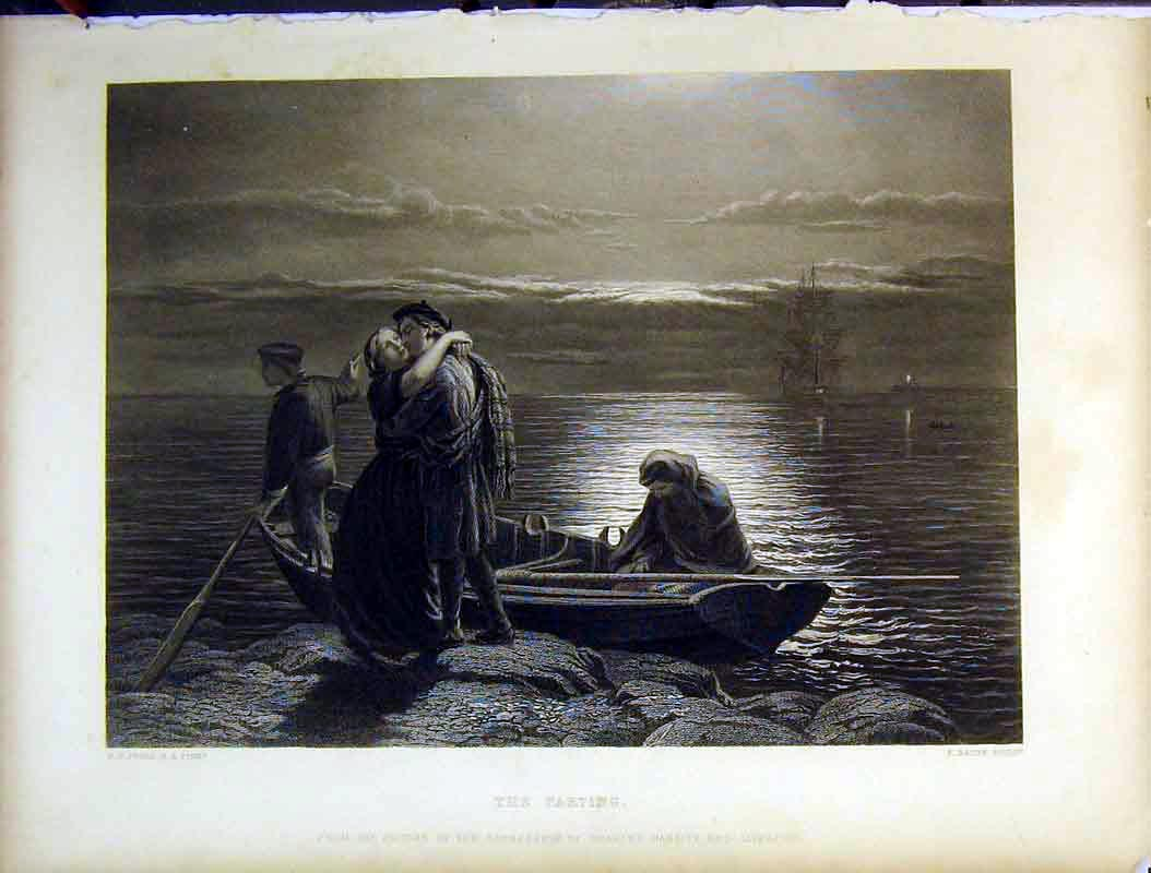 Print Moonlight Sea Sailing Ship Man Woman Kissing Parting 619B378 Old Original