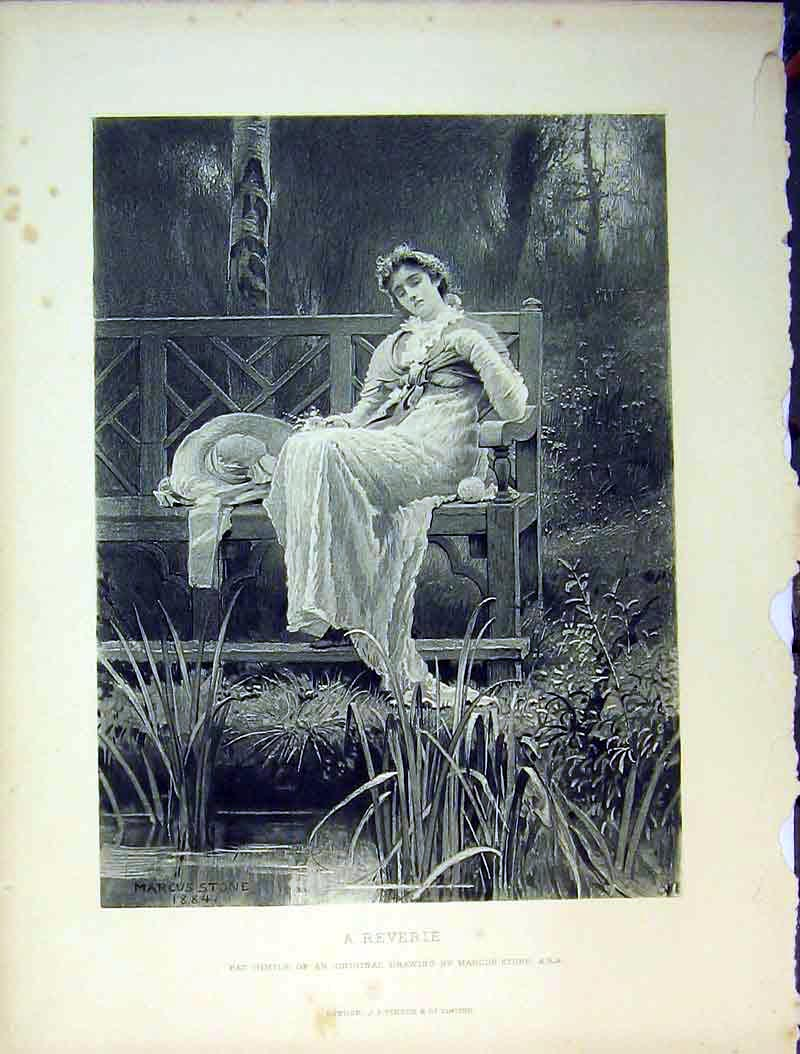 Print 1884 Woman Bench River Grass Reverie Country Scene 623B378 Old Original