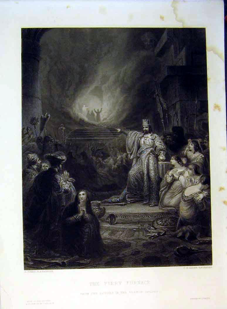 Print Scene Fiery Furnace King Men Women Vernon Gallery Allen 628B378 Old Original