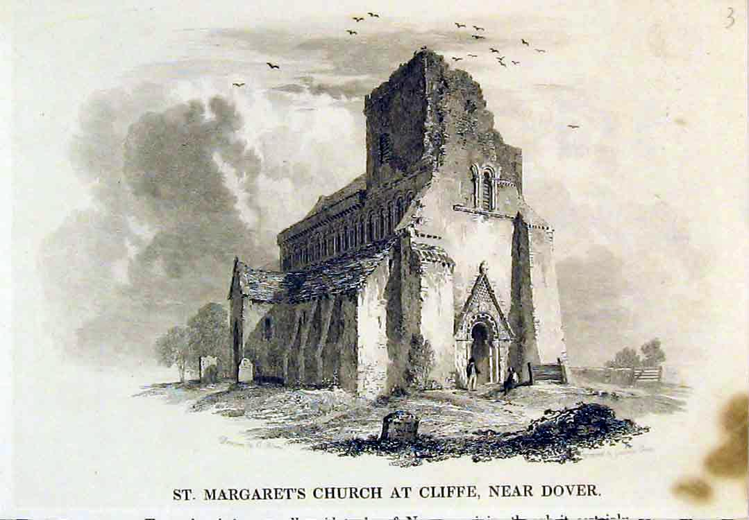 Print View St Margarets Church Cliffe Dover Ruins England 101B379 Old Original