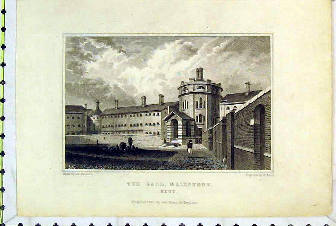Print 1829 View Gaol Maidstone Kent England Building Allen 102B379 Old Original