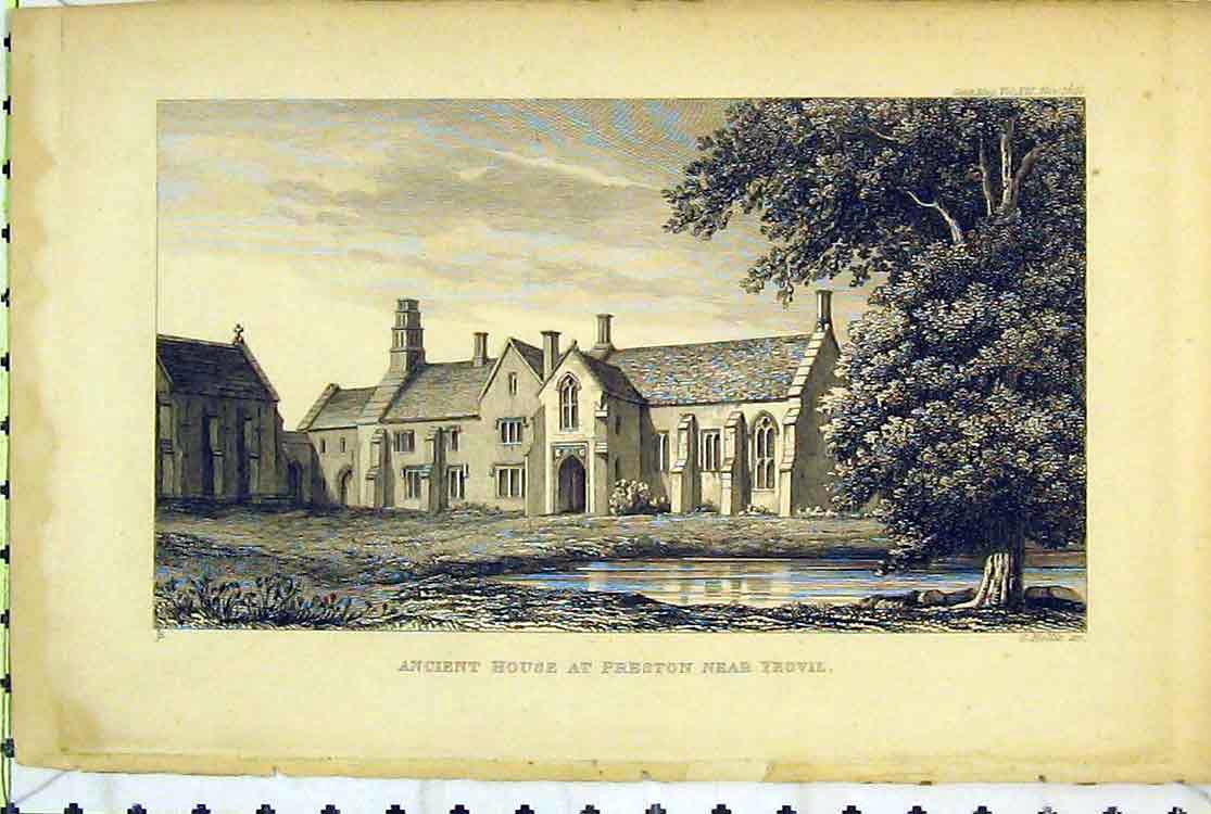 Print View Ancient House Preston Yeovil Trees Lake Building 108B379 Old Original