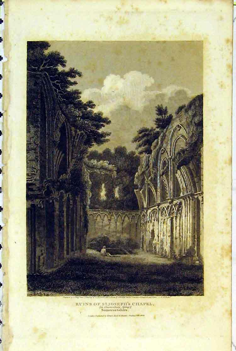 Print 1808 Ruins St Joseph Chapel Glastonbury Abbey Somerset 109B379 Old Original