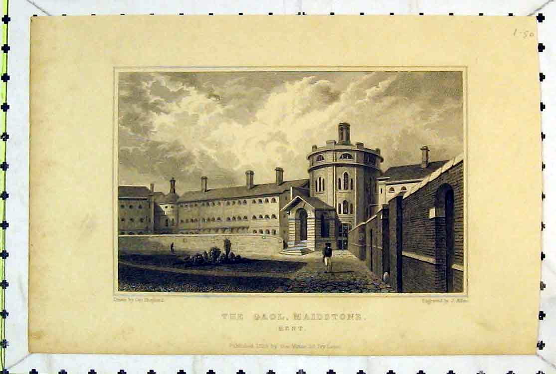 Print *0130 1829 View Gaol Maidstone Kent England Building Allen 119B379 Old Original