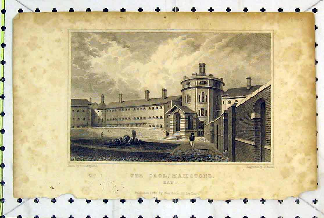 Print *0131 1829 View Gaol Maidstone Kent England Building Allen 120B379 Old Original