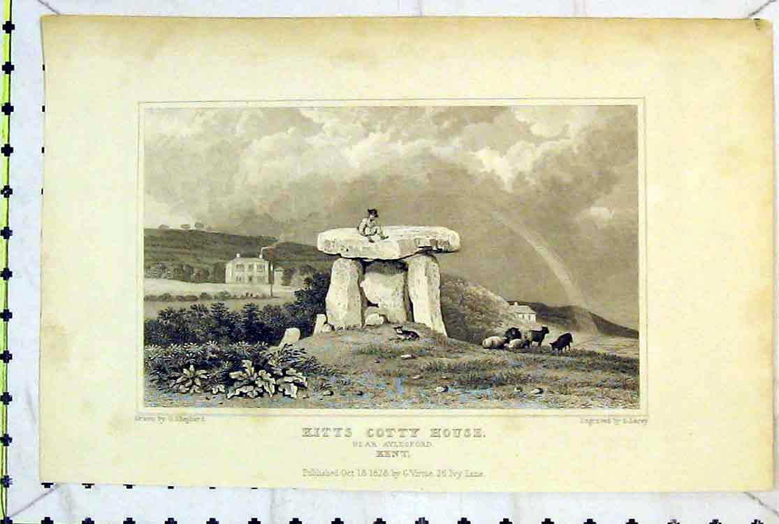 Print 1828 View Kitts Cotty House Aylesford Kent Stones Lacey 123B379 Old Original