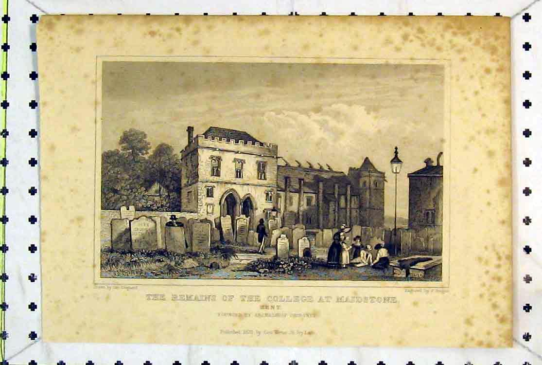 Print View Remains College Maidstone Kent Courtney 1829 124B379 Old Original
