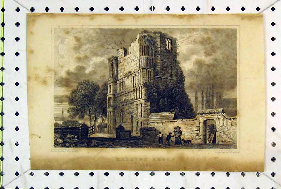 Print View Ruins Malling Abbey Kent England Church People 125B379 Old Original