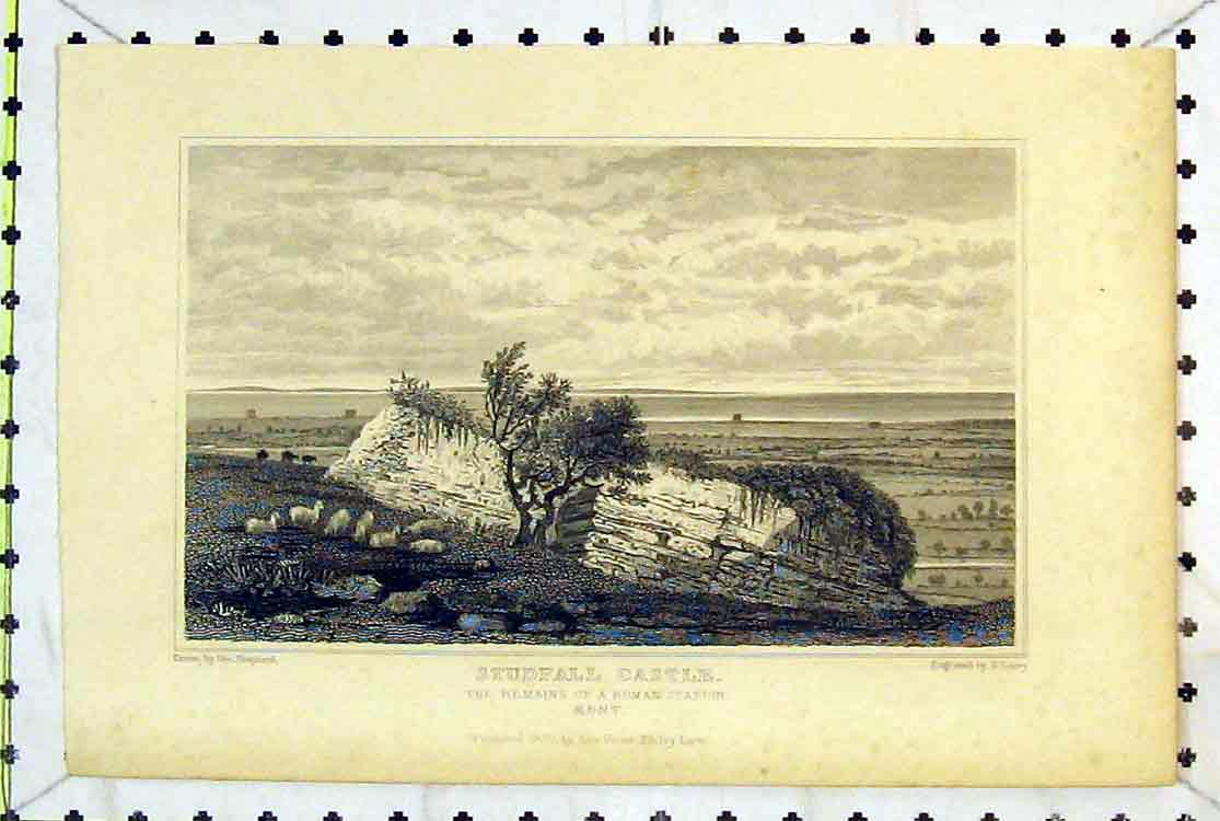 Print View Studfall Castle Remains Roman Station Kent 1829 130B379 Old Original