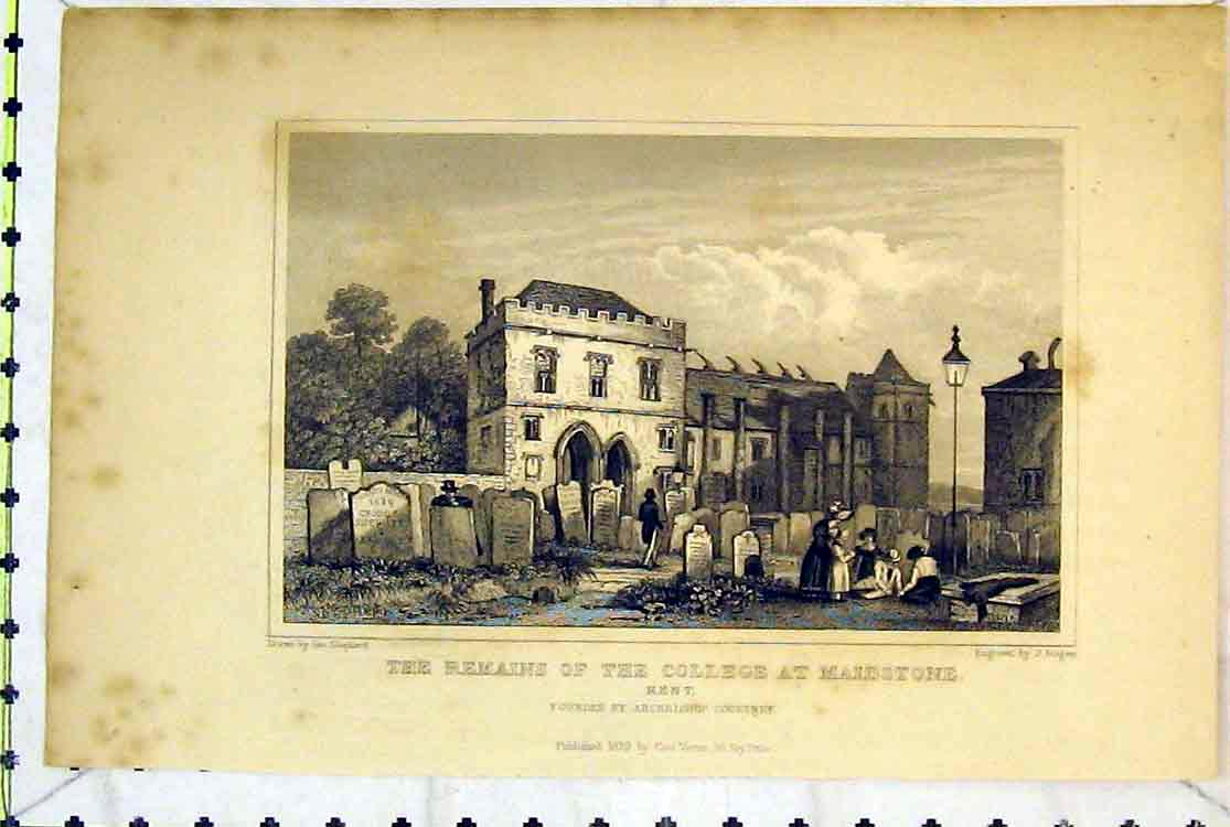 Print 1829 Remains College Maidstone Kent Archbishop Courtney 131B379 Old Original