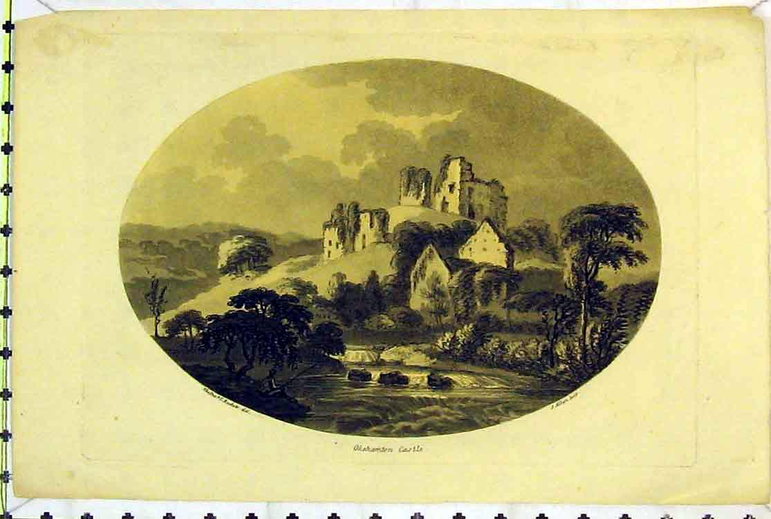 Print View Ruins Okehamton Castle Country Man Fishing River 144B379 Old Original