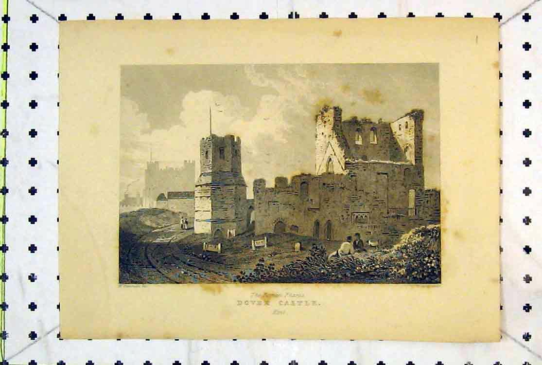 Print View Ruins Dover Castle Roman Pharos Kent England 157B379 Old Original