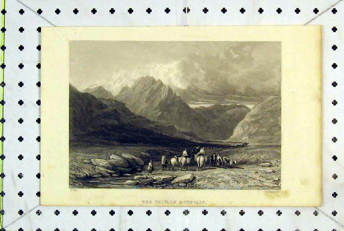 Print 1883 Trifaen Mountain Men Horses Clouds Radclyffe Wales 162B379 Old Original