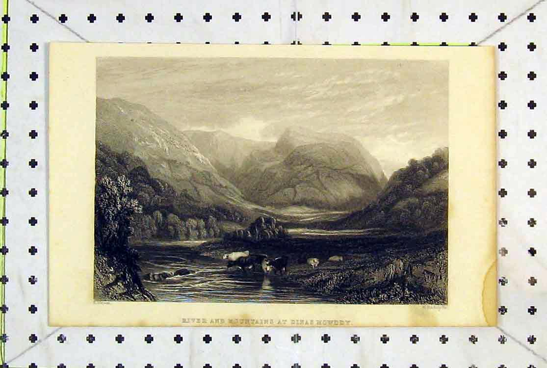 Print Wales River Mountains Dinas Mowddy River Cows Country 163B379 Old Original