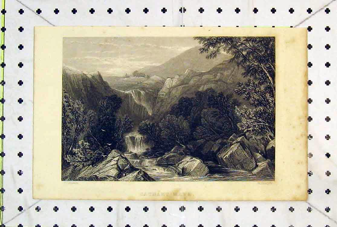 Print Wales Caunant Mawr Mountains Water-Fall Radclyffe 1883 164B379 Old Original