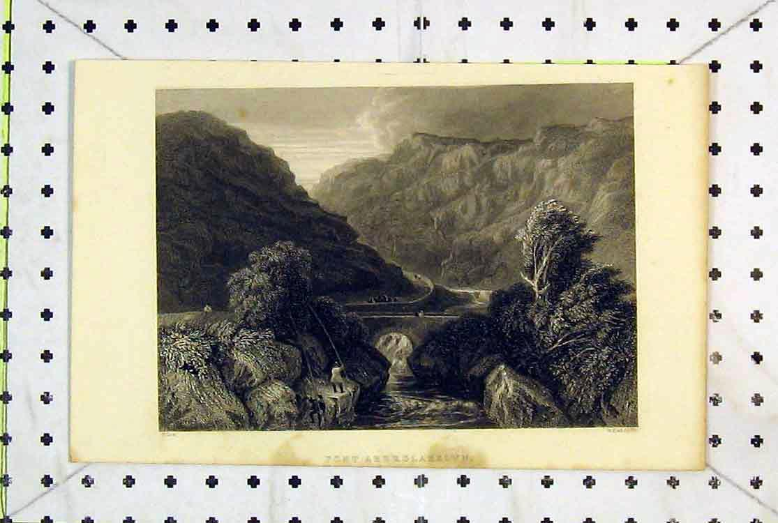 Print Wales 1853 Pont Aberglasslyn Bridge River Mountains 165B379 Old Original