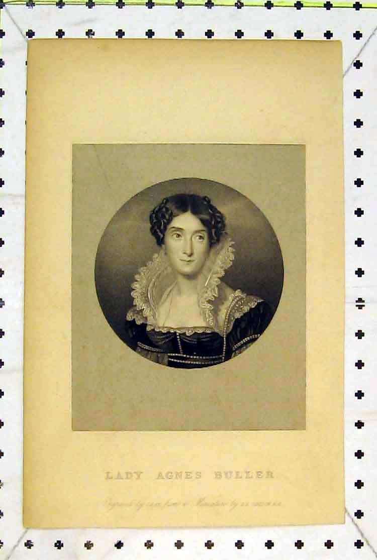 Print Portrait Lady Agnes Buller Beautiful Woman 168B379 Old Original