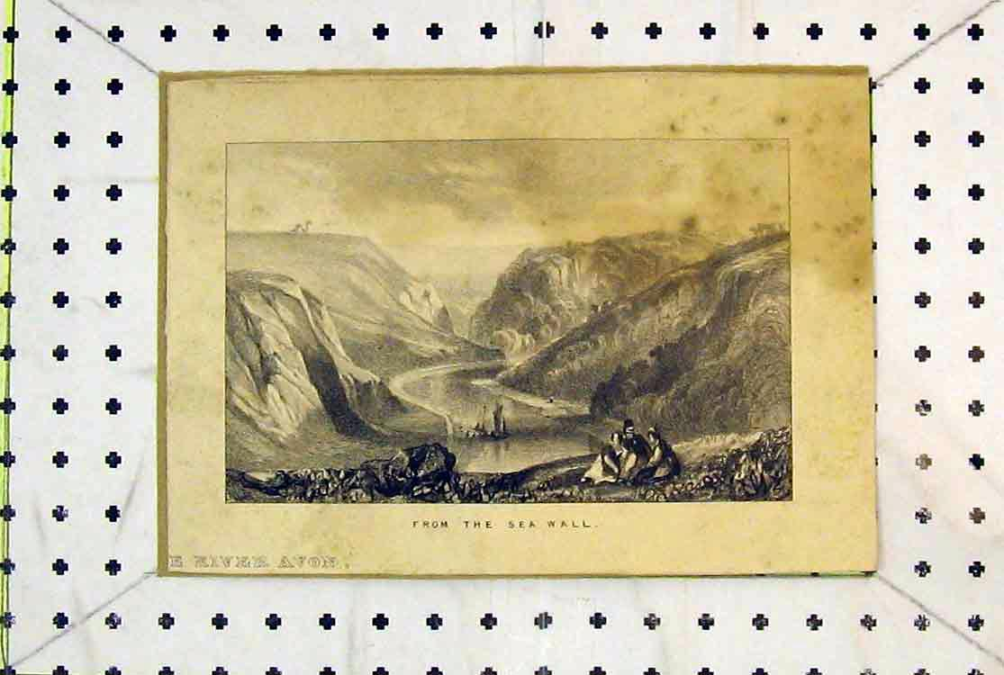 Print View River Avon Sea Wall Mountains Sailing Ship 175B379 Old Original