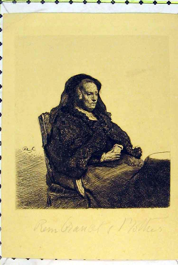 Print Portrait Woman Sitting Chair Cloak 178B379 Old Original