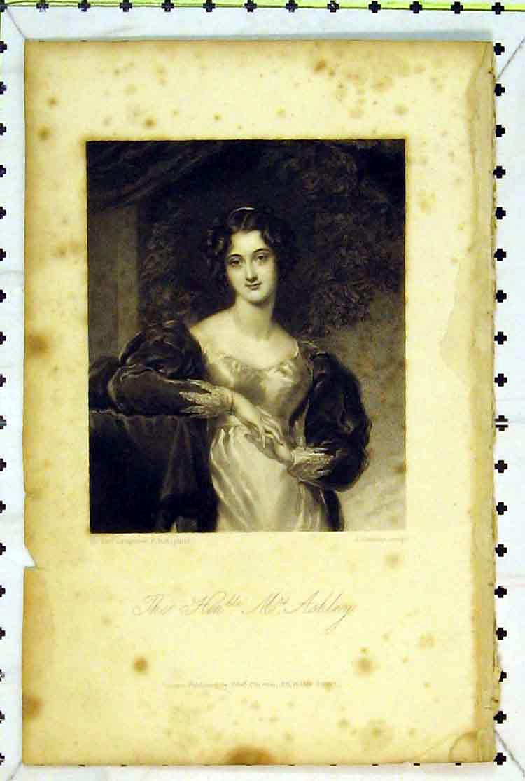 Print Portrait Right Honourable Mrs Ashley Woman 181B379 Old Original