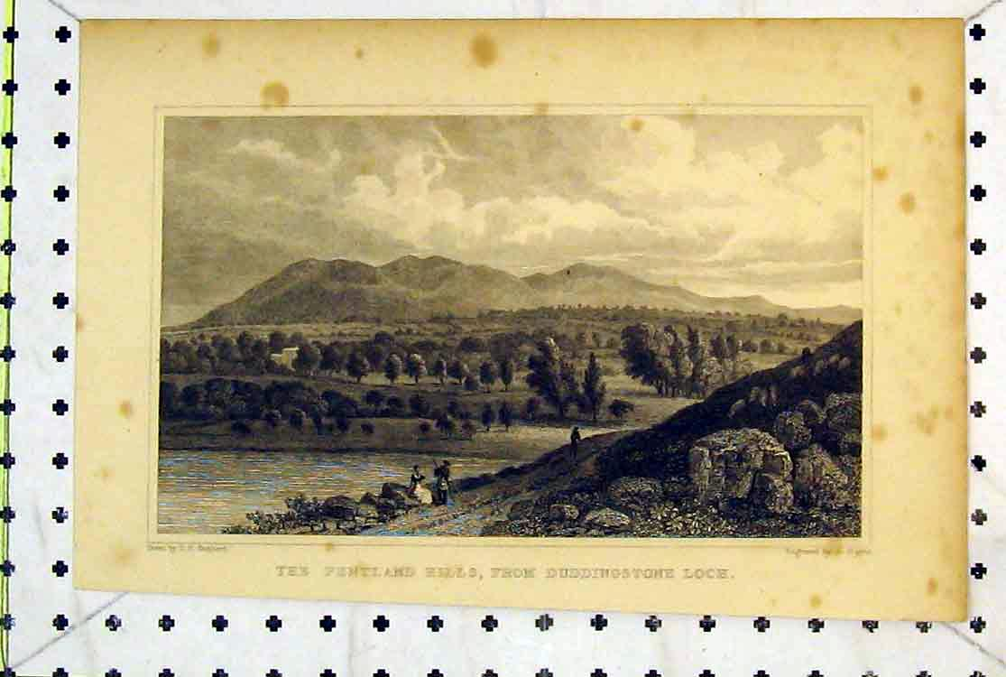 Print View Pentland Hills Duddingstone Loch Mountains Trees 196B379 Old Original