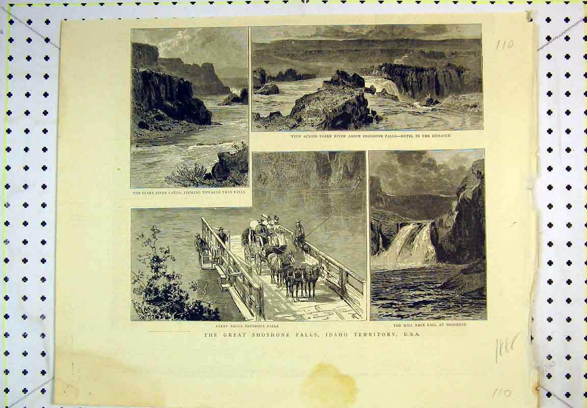 Print 1888 Shoshone Water Fall Idaho America Snake River Mill 110B380 Old Original