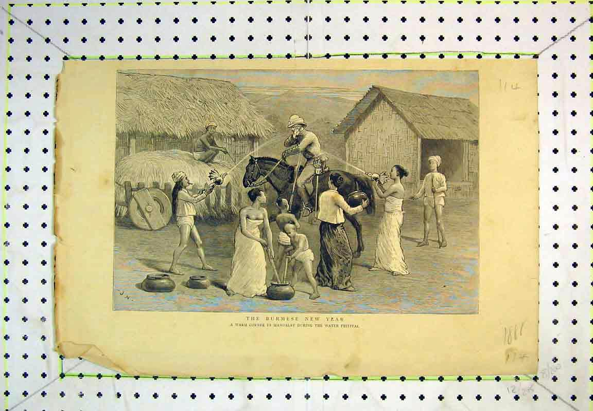 Print 1888 Burmese New Year Mandalay Water Festival Horse 114B380 Old Original