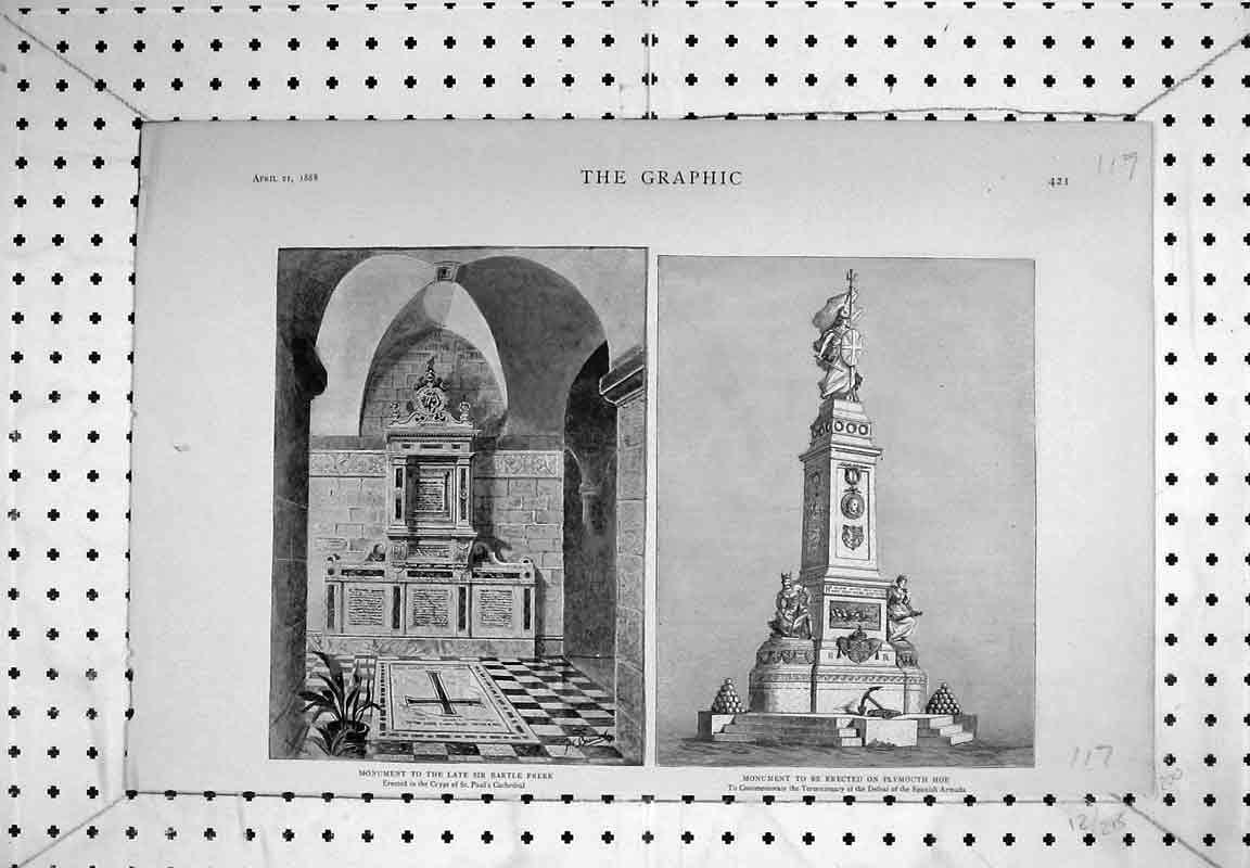 Print 1888 Monument Sir Bartle Frere Plymouth Armada Spanish 117B380 Old Original