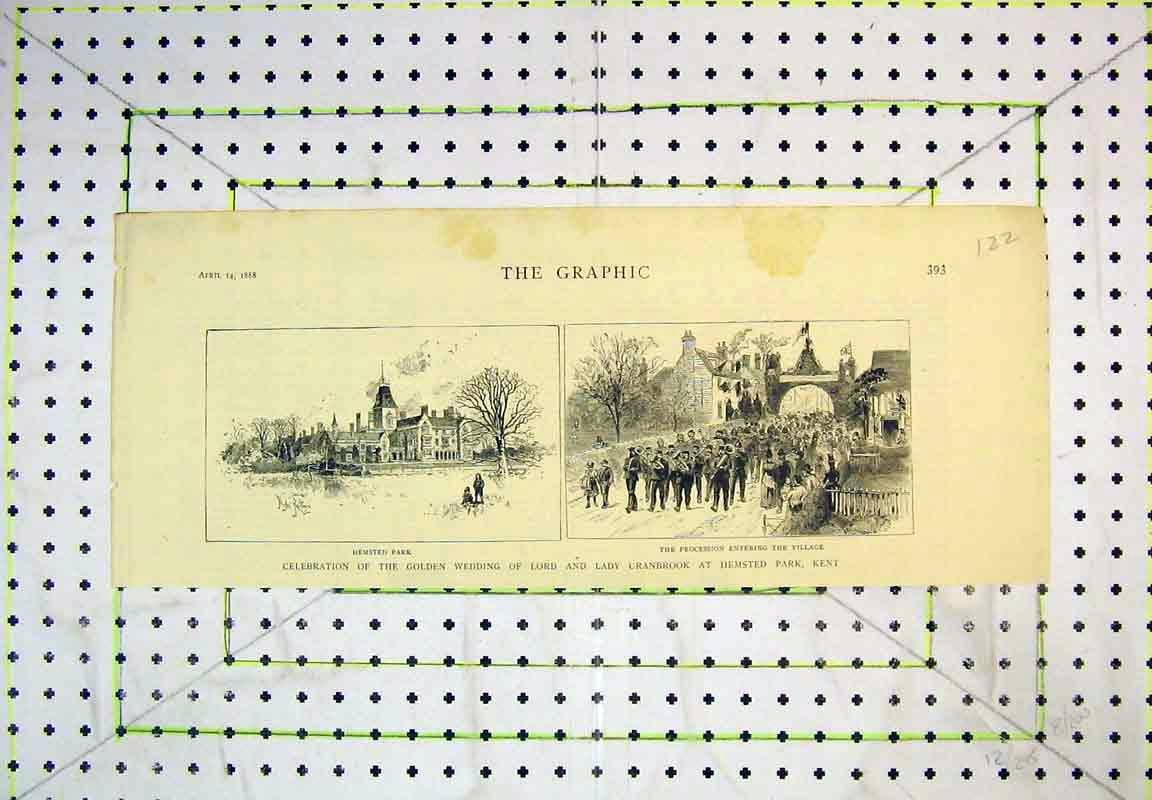 Print 1888 Hemsted Park Procession Lord Lady Cranbrook Kent 122B380 Old Original