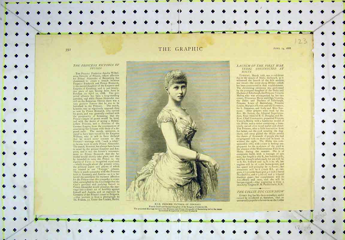 Print 1888 Portrait H. I. H Princess Victoria Germany Lady 123B380 Old Original