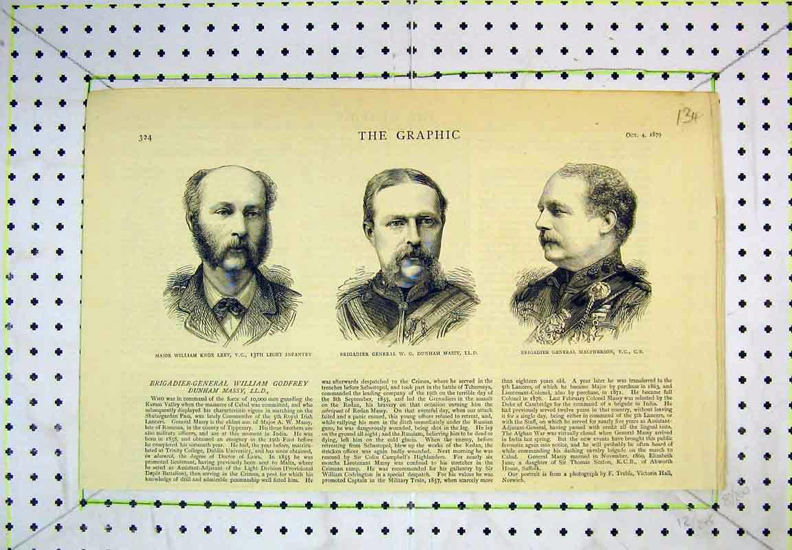 Print 1879 Portrait Major Knox Massey Macpherson General War 134B380 Old Original