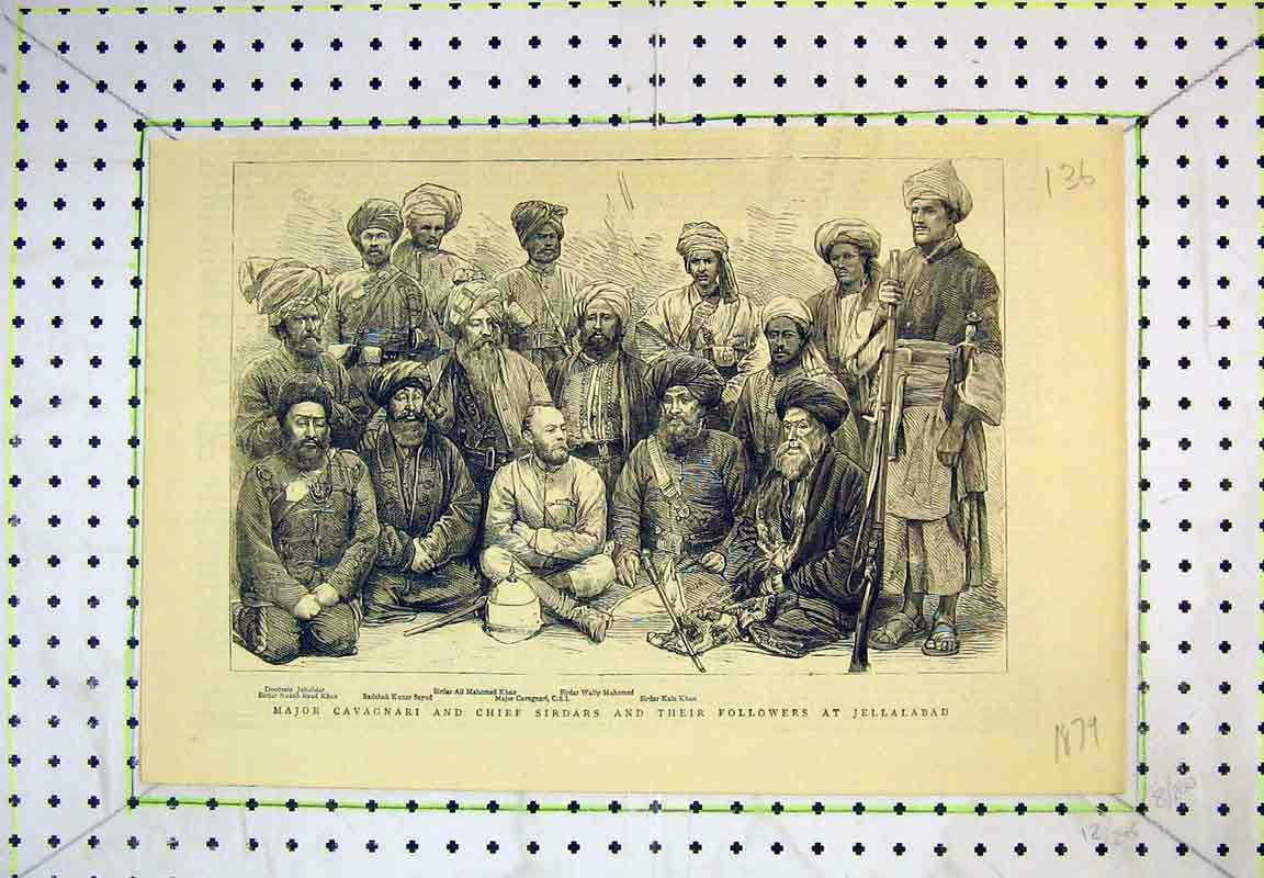 Print Major Cavagnari Chief Sirdars Jellalabad 1879 Army War 136B380 Old Original