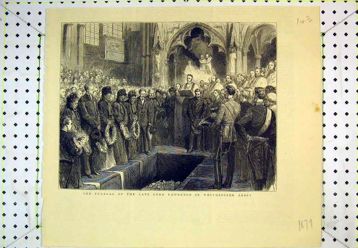 Print 1879 Funeral Lord Lawrence Westminster Abbey Church 143B380 Old Original