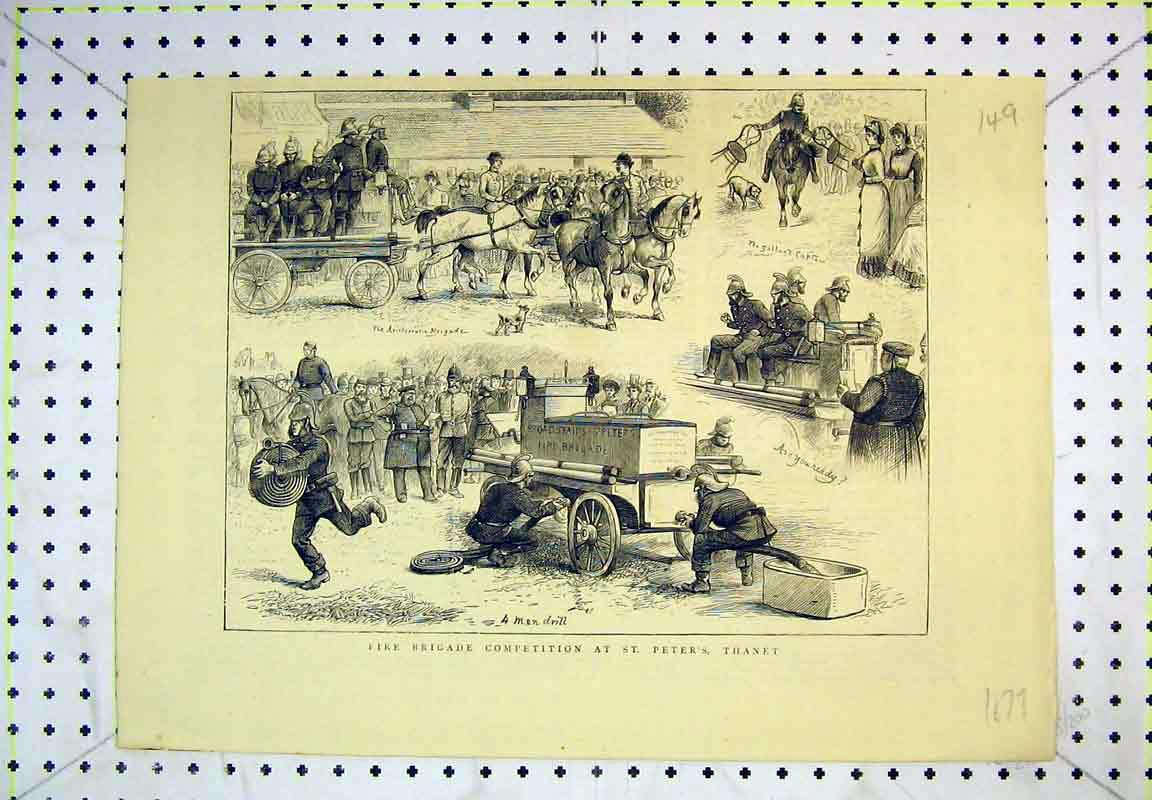 Print 1879 Fire Brigade Competition St Peter'S Thanet Horses 149B380 Old Original