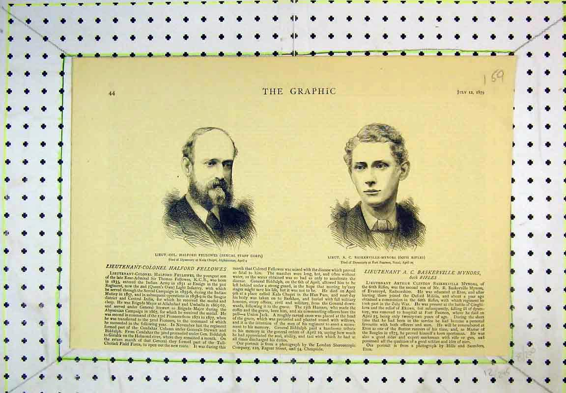 Print 1879 Portrait Fellowes Baskerville-Mynors Army Soldiers 159B380 Old Original