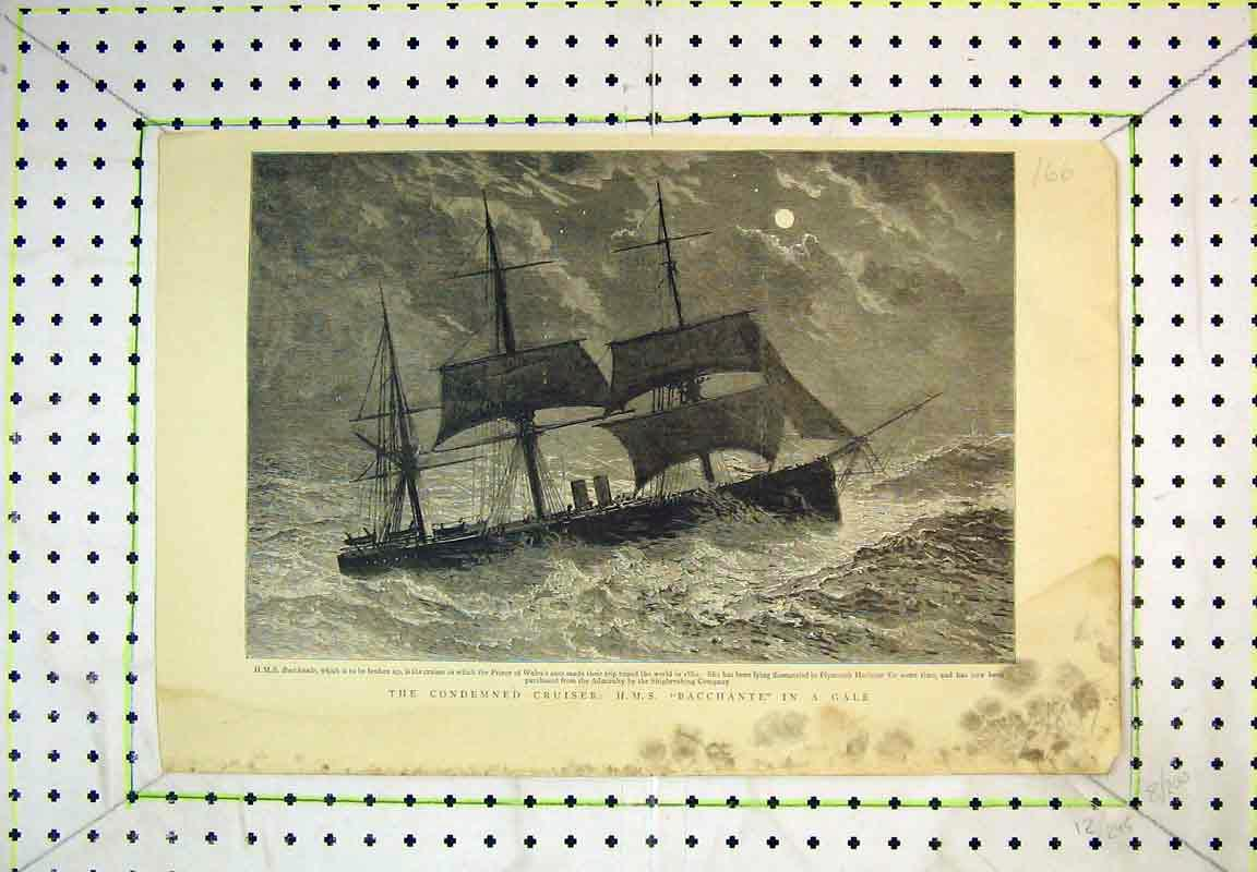 Print 1897 Condemned Cruiser Ship H. M. S Bacchante Stormy Sea 166B380 Old Original