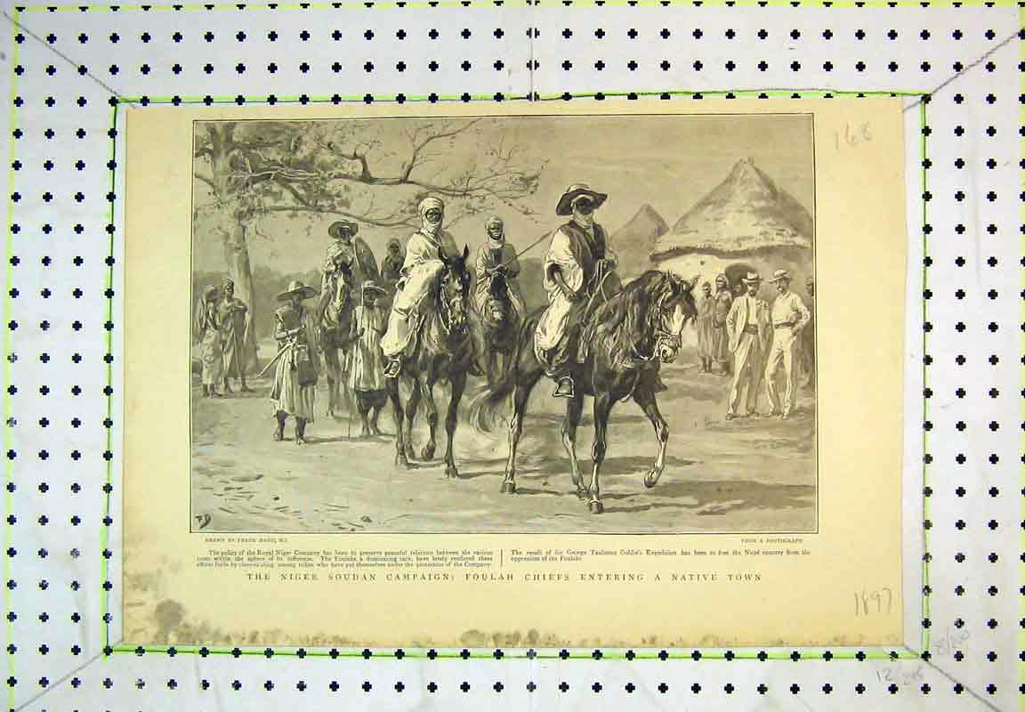 Print 1897 Niger Soudan Campaign Foulah Chiefs Native Town 168B380 Old Original