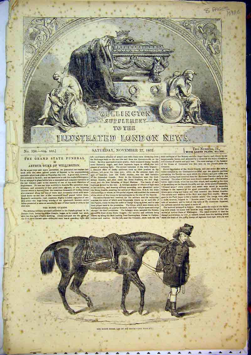 [Print 1852 Duke Wellington Piccadilly Horse Funeral Strand 101Ab381 Old Original]