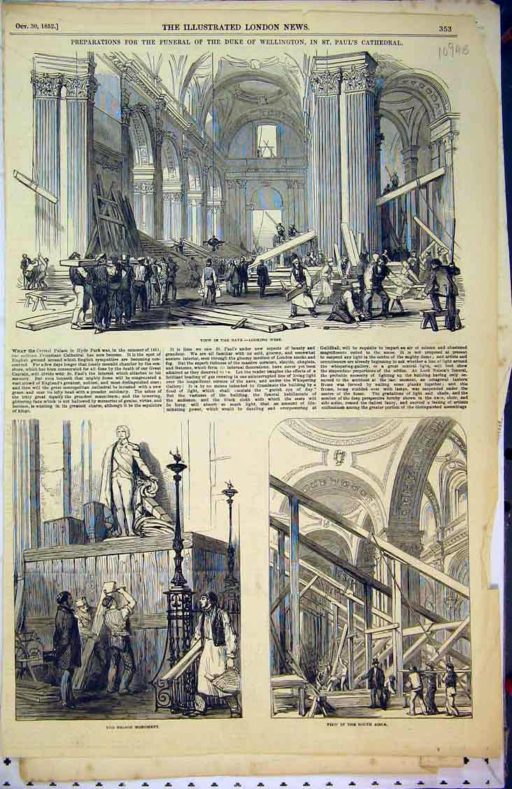 Print 1852 Wellington Paul'S Cathedral Nave Nelson Monument 109Ab381 Old Original