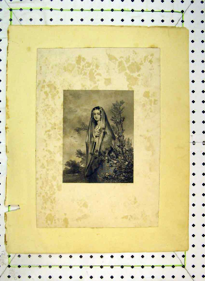Print C1849 Portrait Beautiful Woman Flowers 507B383 Old Original