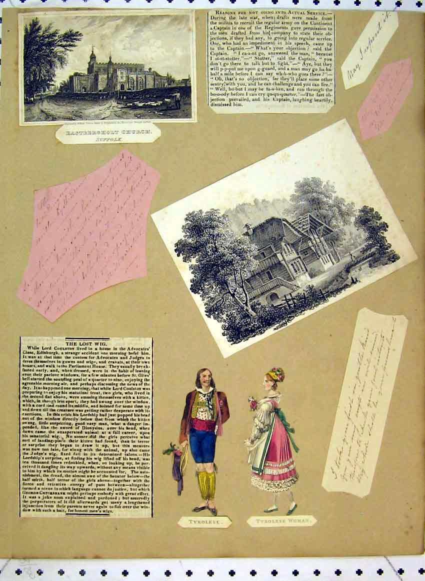 Print C1849 View Eastbergholt Church Sussex Tyrolese Woman 510B383 Old Original